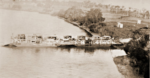 Loganholme ferry, Logan River, 1929. This was the scene of a shark attack. (Riverboats, Ferries and Roads)