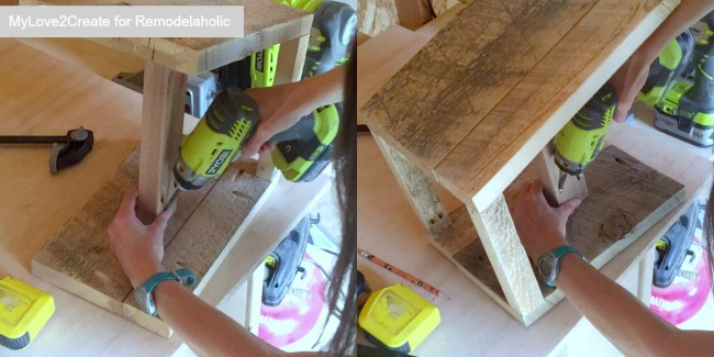 Adding aprons and middle support to diy stool legs