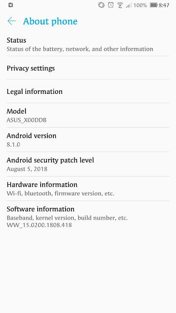 Update terbaru Zenfone 3 Max Pro (ZC553KL)-Android Oreo