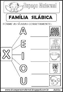 Família silábica alfabetização letra X