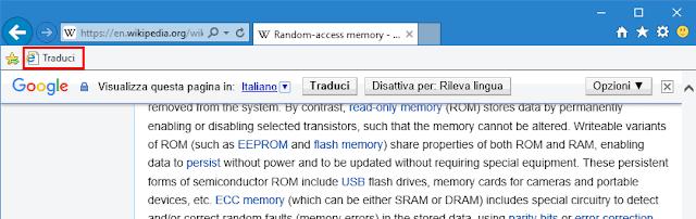Tradurre pagina web con IE e Edge con Google Traduttore