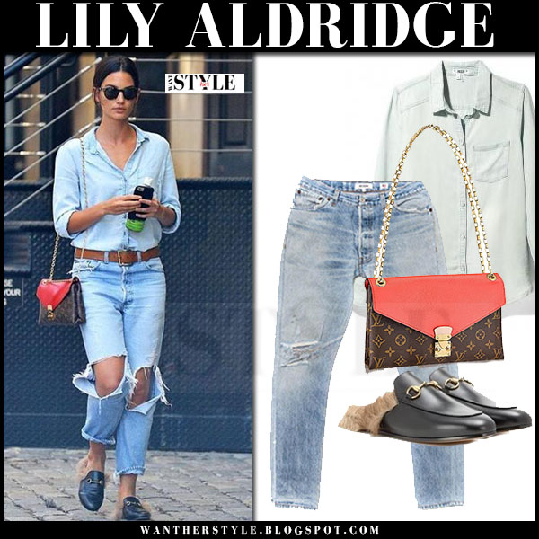 Lily Aldridge in denim shirt, ripped jeans and black fur slippers gucci princeton what she wore