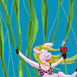 "Jane Taheri: A ""Vine Swinging Swine Sipping Wine"", in celebration of a full month of posting pigs!  Yay!"