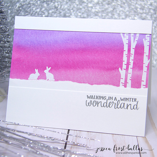 Winter scene card by Jessica Frost-Ballas | Serene Silhouettes stamp set by Newton's Nook Designs #newtonsnook