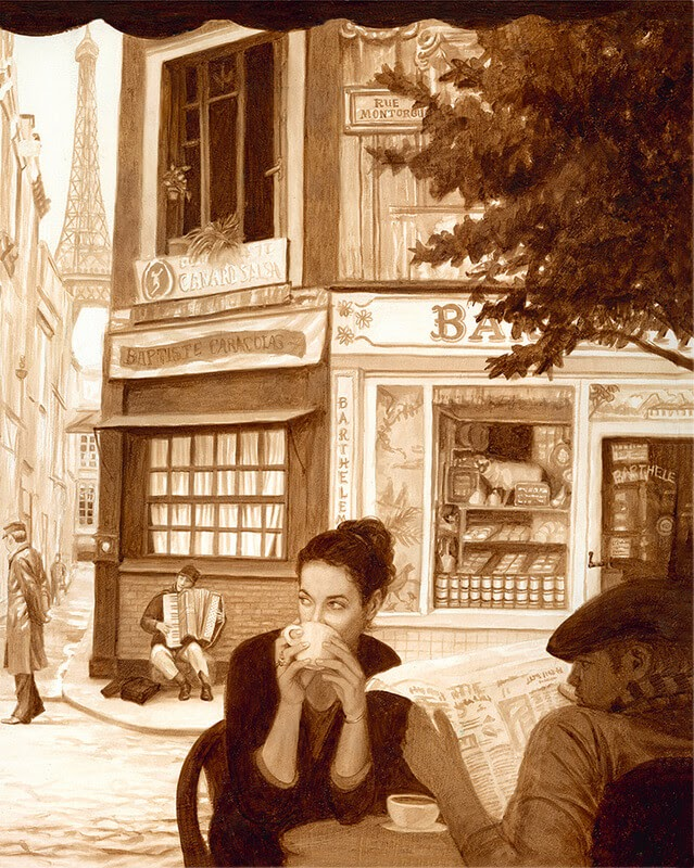 02-Paris-Karen-Eland-The-World-Through-Coffee-Paintings-www-designstack-co