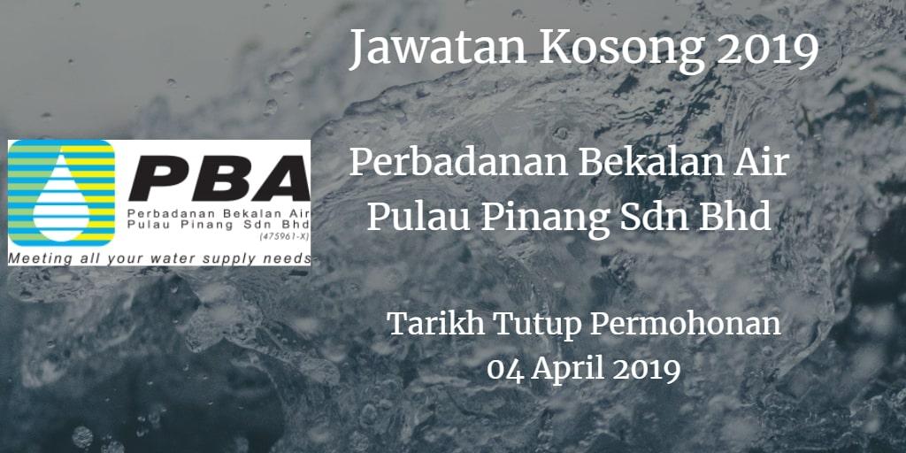 Jawatan Kosong Perbadanan Bekalan Air Pulau Pinang Sdn Bhd 04 April 2019