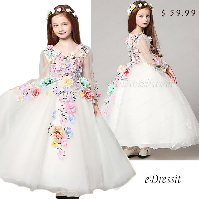 Floral Long Wedding Flower Girl Dress