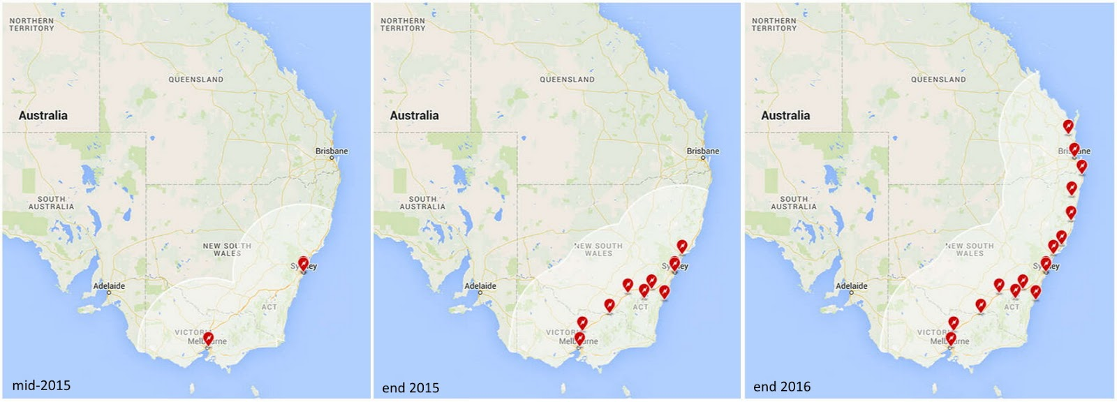 Map of planned Tesla supercharger stations by end of 2016 - Vivid Maps