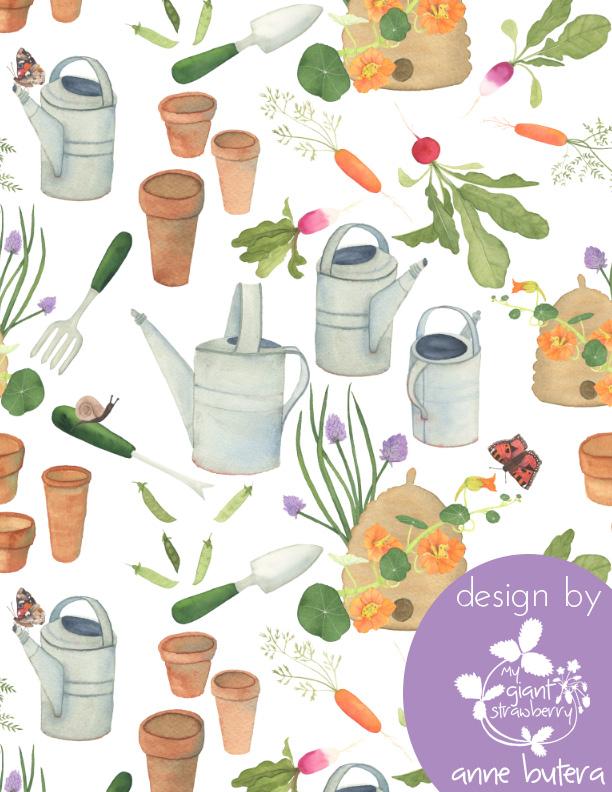 spoonflower, fabric, pattern design, surface pattern design, gardening, In the Garden, Anne Butera, My Giant Strawberry