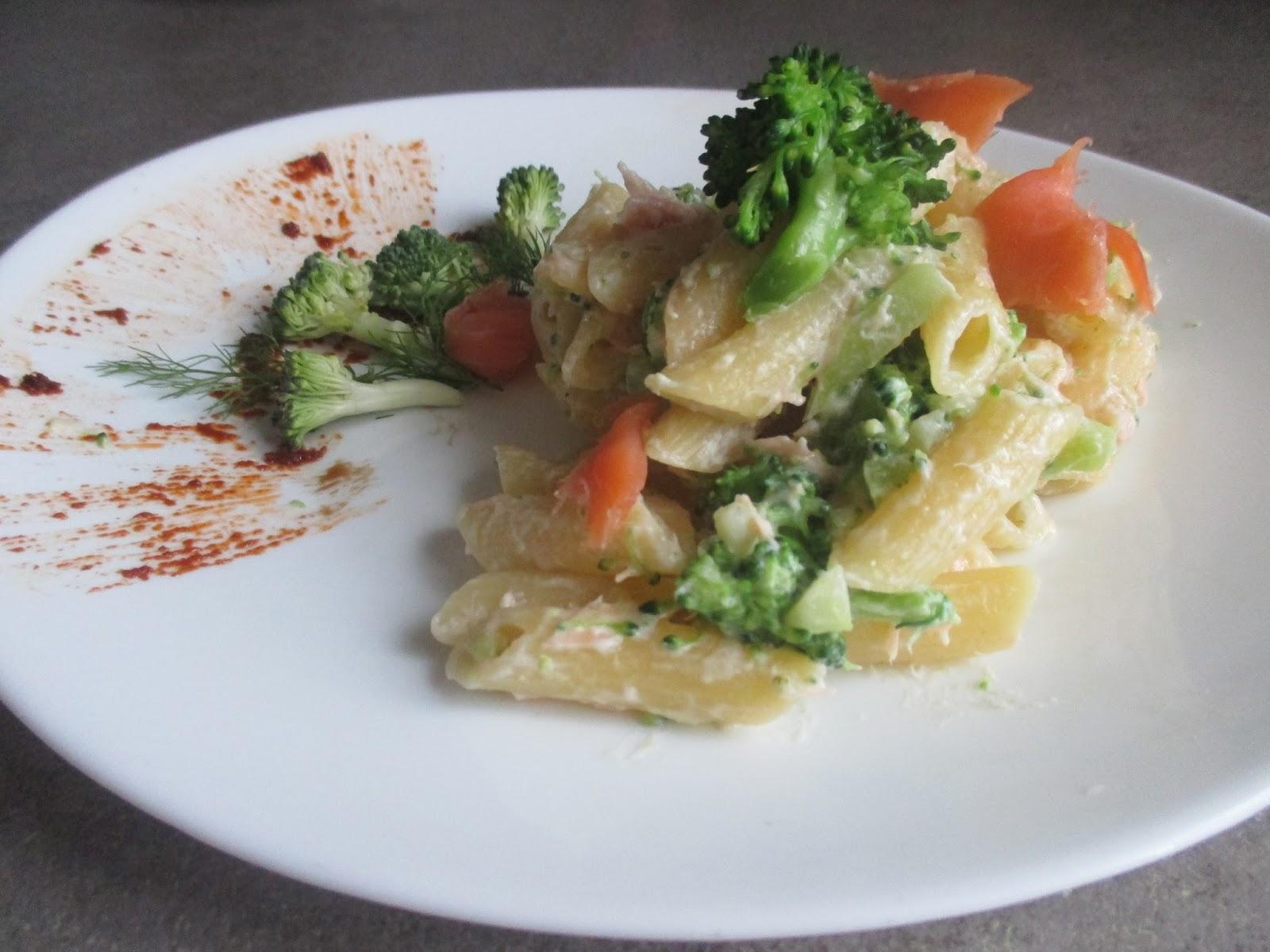Penne Pasta With Greek Yogurt Smoked Salmon And Broccoli Recette Aussi En Francais Penne Con Yogurt Greco Salmone Affumicato E Broccoli