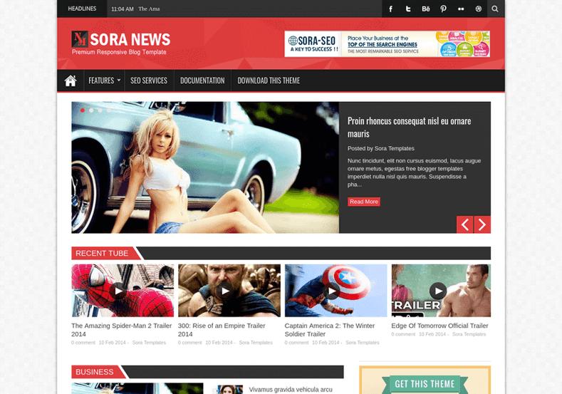 Sora news responsive blogger template high quality free blogger sora news responsive blogger template wajeb Images