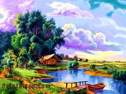 اجمل اللوحات الفنية الطبيعية المرسومة باليد