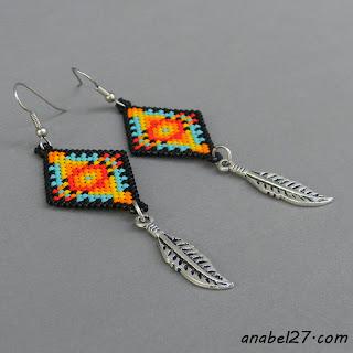 Индейские серьги из бисера