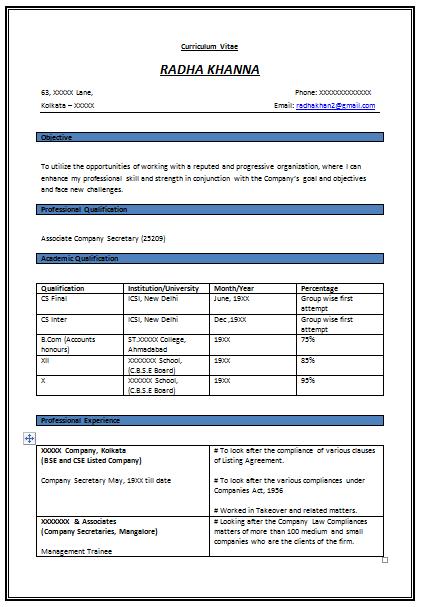 company secretary cv template