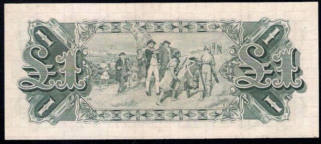Australia One Pound banknote 1927 Landing of Captain Cook at Botany Bay 1770, by Emanuel Phillips Fox painting