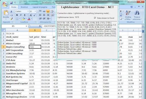 The Lightstreamer Blog: Use RTD to Push Data to Excel via Lightstreamer