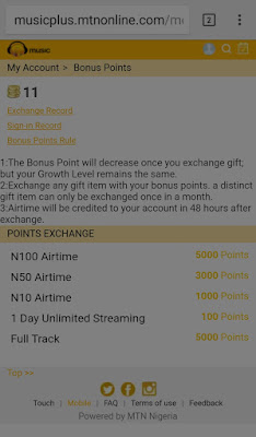 How to exchange your bonus points for Mtn airtime