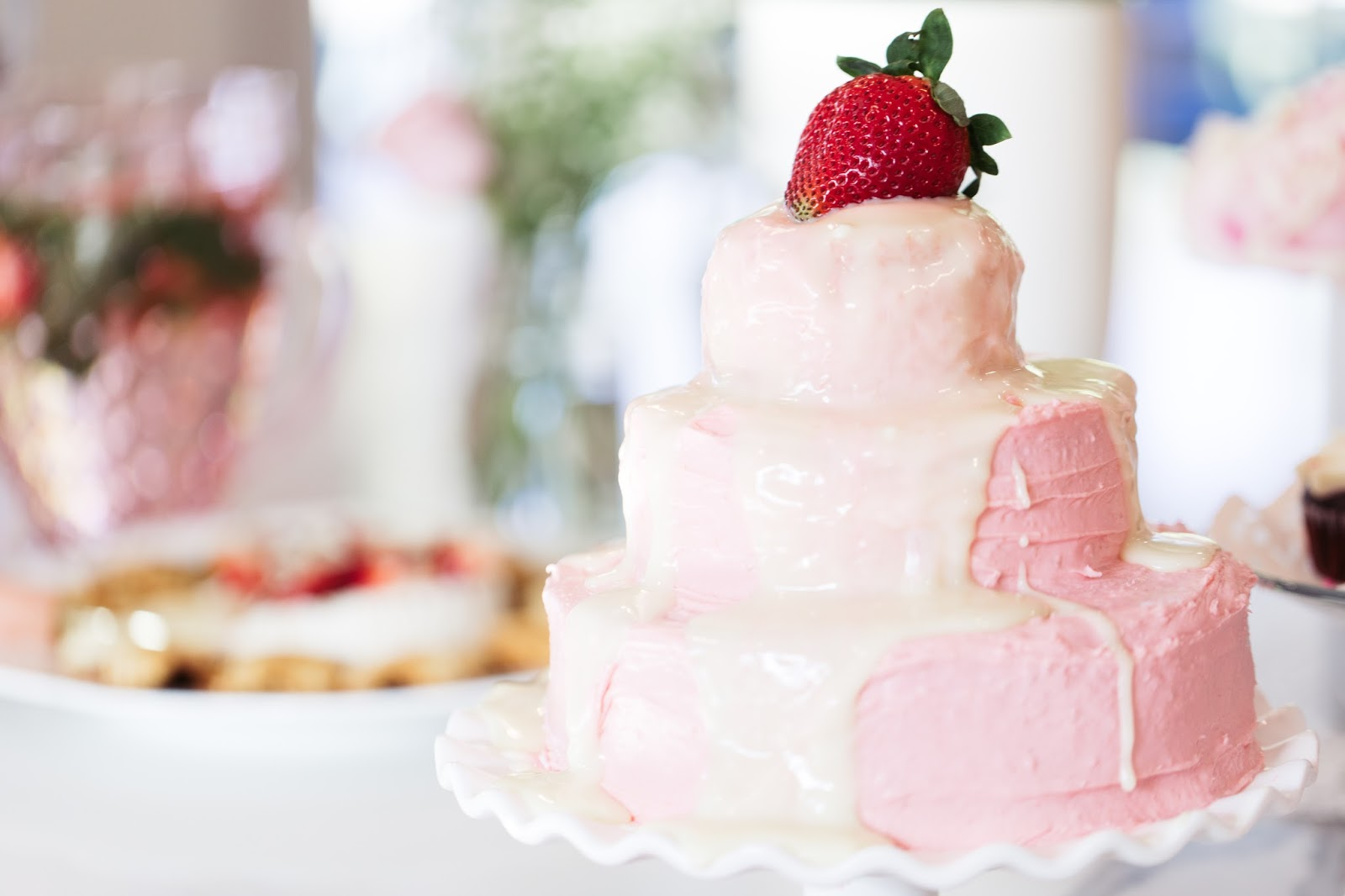 Decorate your Valentine's Day buffet table with a darling, pink frosted cake