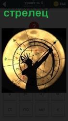 На фоне круга луны со знаками зодиака стоит стрелец с натянутым луком готовый к стрельбе