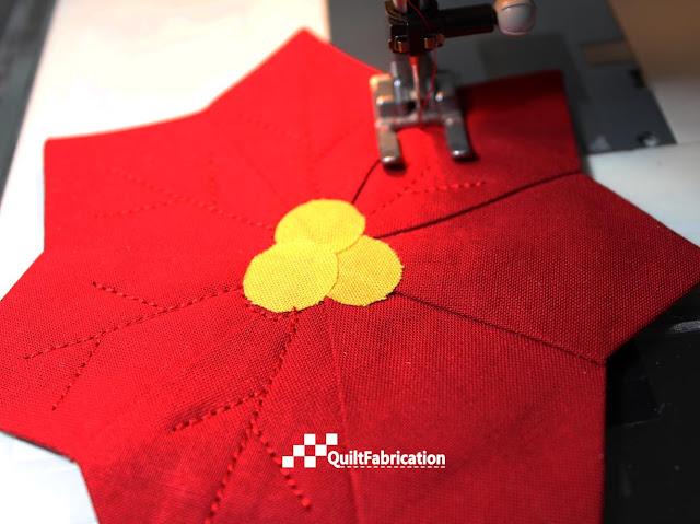 Dresden plate Poinsettia Coaster vein stitching