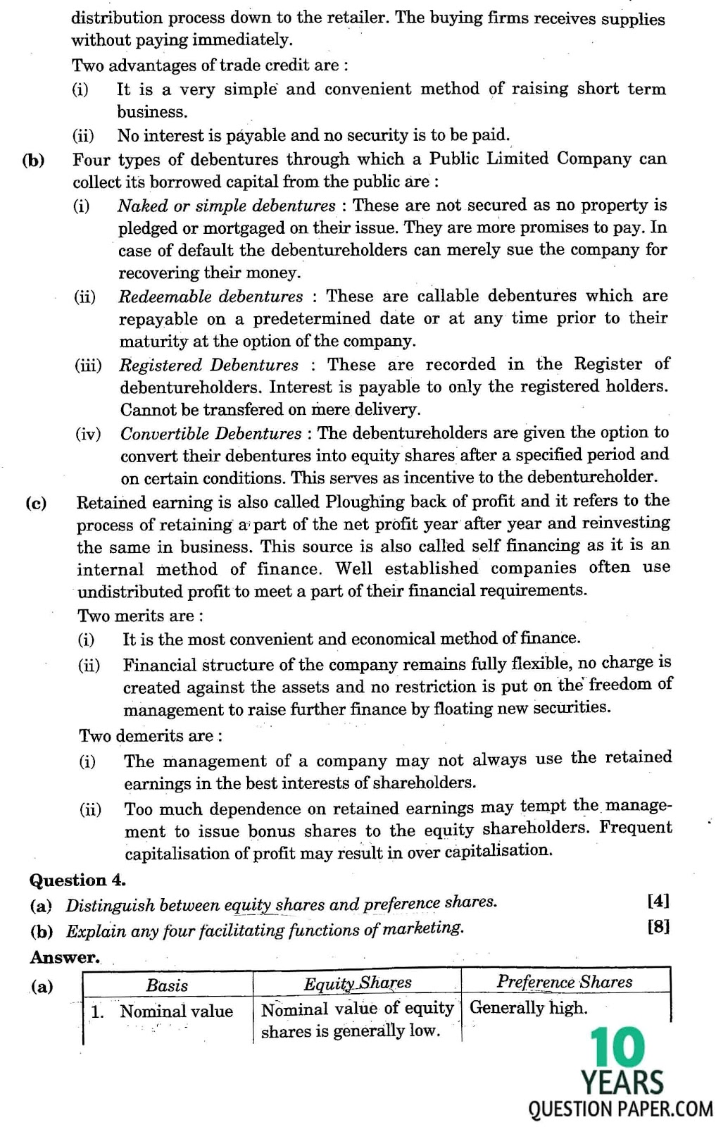 isc 2015 class 12th Commerce solved question paper