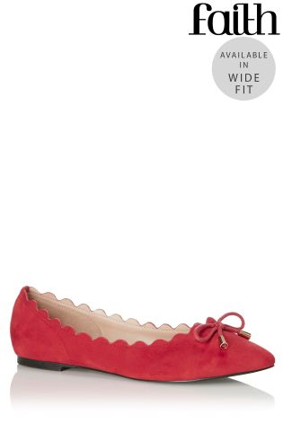 faith wide fit scallop ballerina pumps