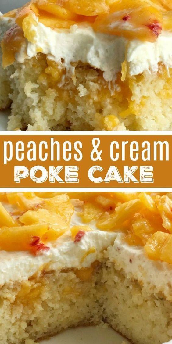 Peaches and Cream Poke Cake Recipe