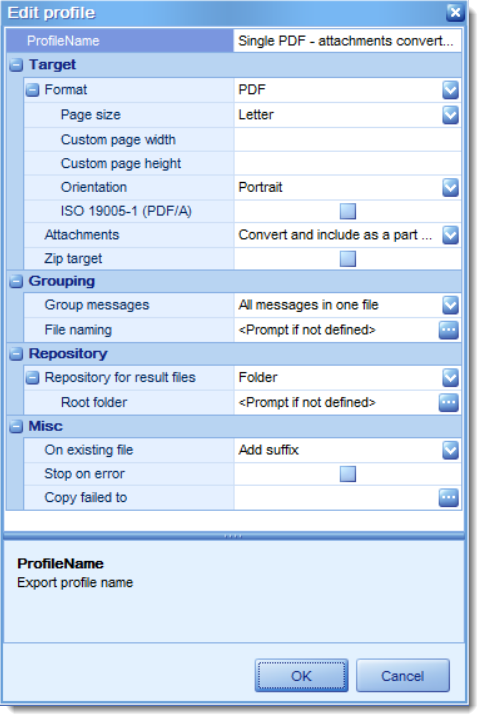 The export profile editor, showing configurable settings for .eml-to-pdf export.