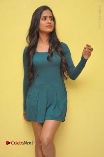 Telugu Actress Prasanthi Stills in Green Short Dress at Swachh Hyderabad Cricket Press Meet  0045.JPG