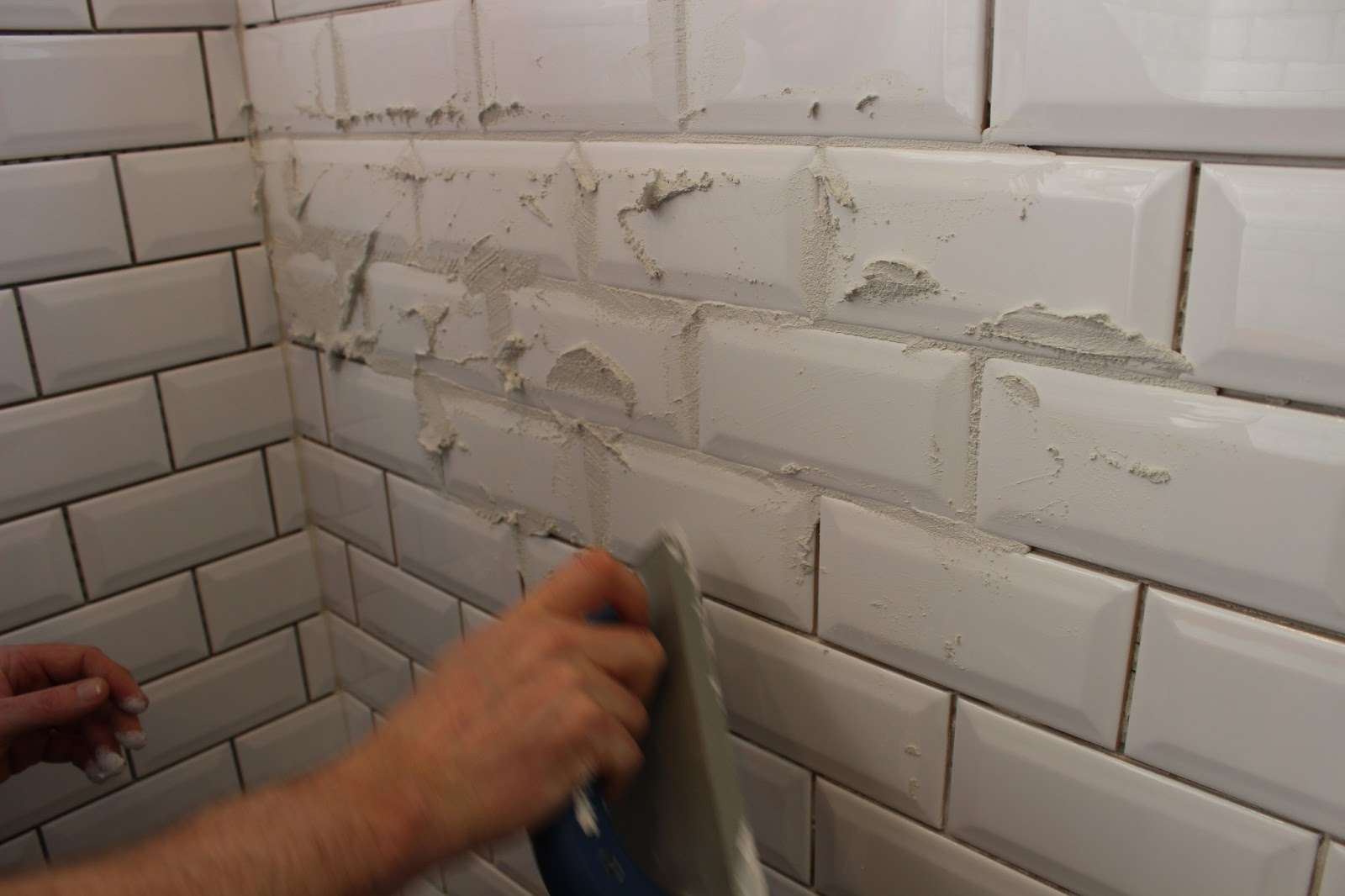 Grouting Beveled Subway Tile Is Incredibly Wasteful Because Of The Angles On Edges It S Difficult To Just Shove Grout Into Line So You Sorta Get