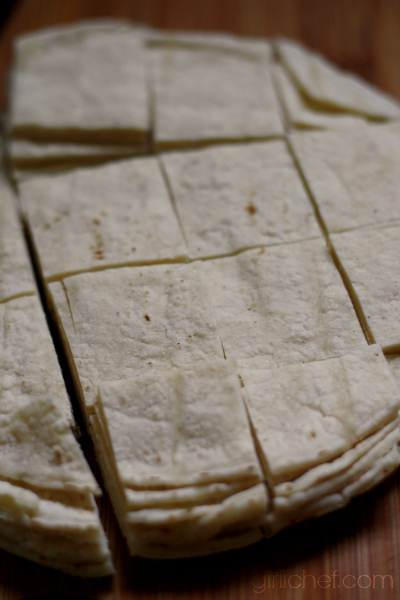 tortillas cut for Migas con Nopales