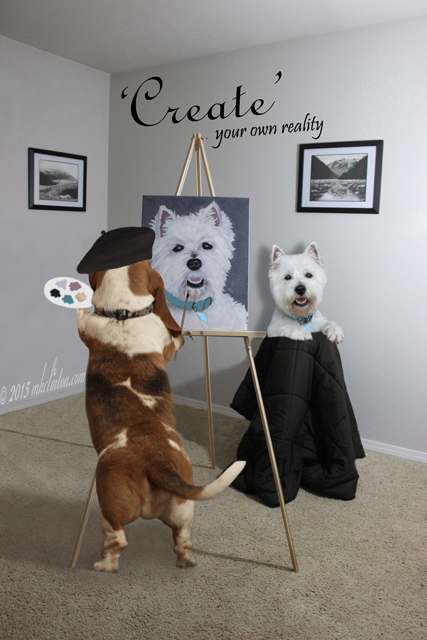 Bentley Basset Hound painting Pierre the Westie.