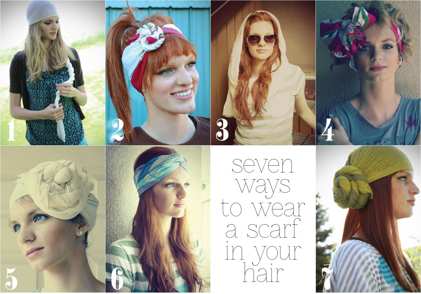 the letter 4 7 ways to wear a scarf in your hair Cute Ways To Wear Scarves In Your Hair