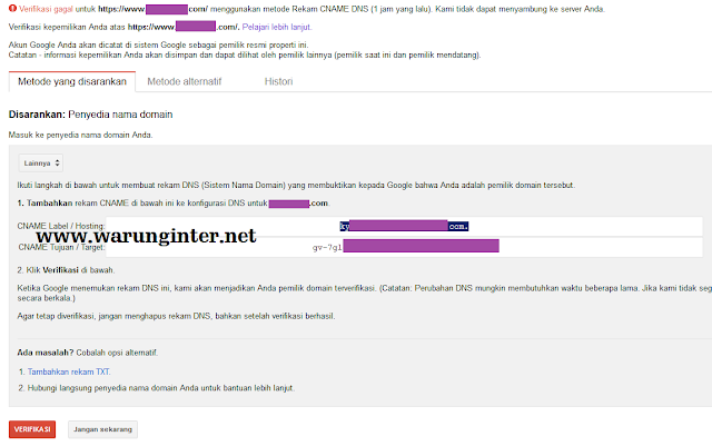 Verifikasi CNAME di google webmaster