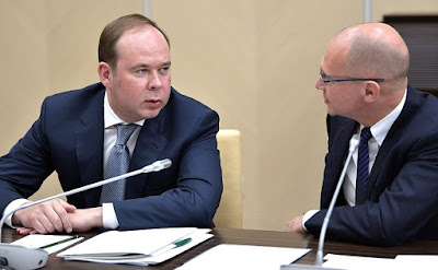 Chief of Staff of the Presidential Executive Office Anton Vaino and First Deputy Chief of Staff of the Presidential Executive Office Sergei Kirienko prior to the meeting with Government members.