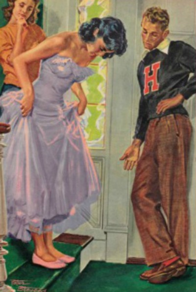 Peter Steven Illustration from 1953 Family Circle depicting young girl in fancy dress on stairways with brother teasing her