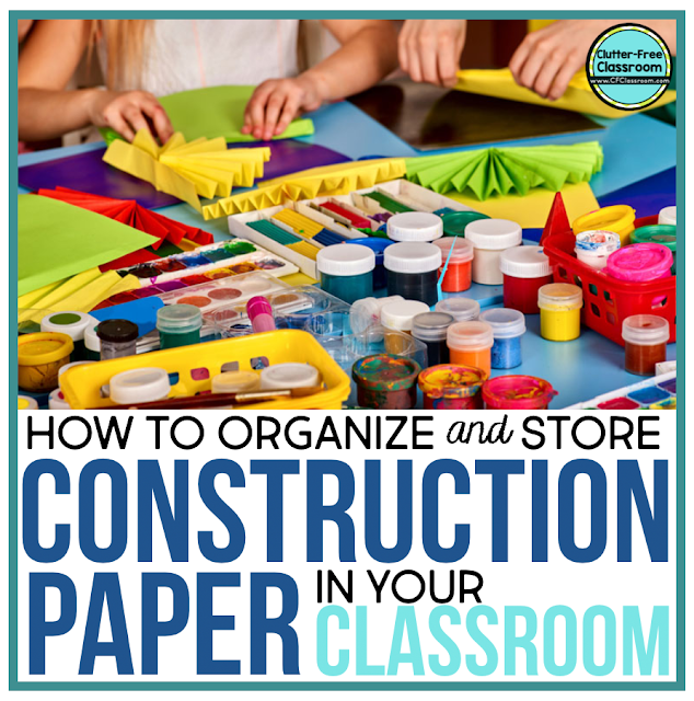 Construction paper, colored card stock, scrapbook paper, craftivities, arts and crafts, school projects, art centers, and free choice centers can be hard to organize.