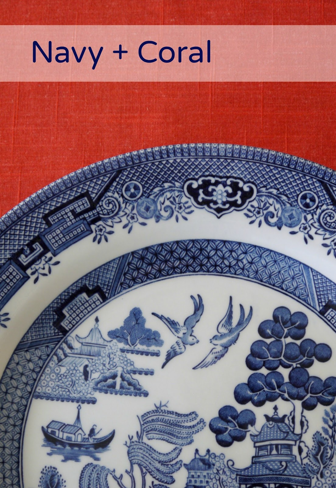 Sense And Simplicity: Coral And Navy Tablesetting