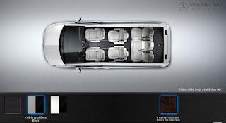 Nội thất Mercedes V250 Avantgarde 2016 màu Xám Crystal/Đen VX8
