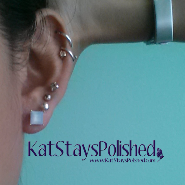 Wantable August 2014 Accessories - Allison Earrings - Square Stone | Kat Stays Polished