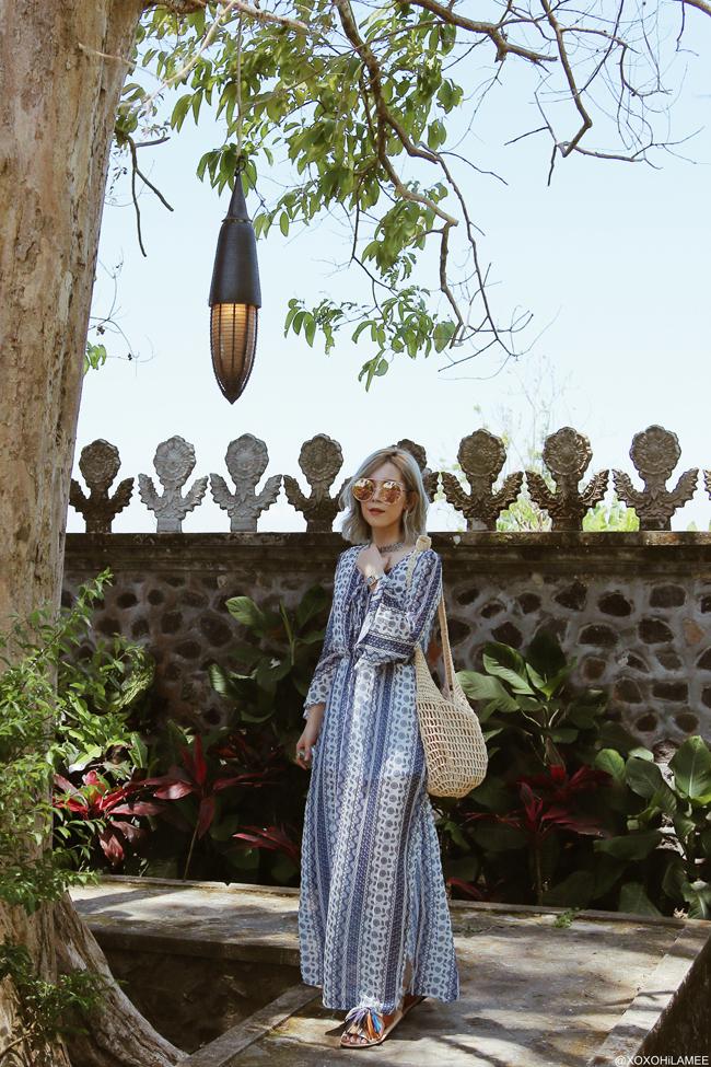 Japanese Fashion Blogger,MizuhoK,20180927OOTD, Folk printed  maxi dress: CHOIES, frindge sandals : Newchic , round big sunglasses : zeroUV , Watch : olivia burton, Bracelet  : SheIn , silver choker : forever21 , Hoop earring=? rings : 3COINS