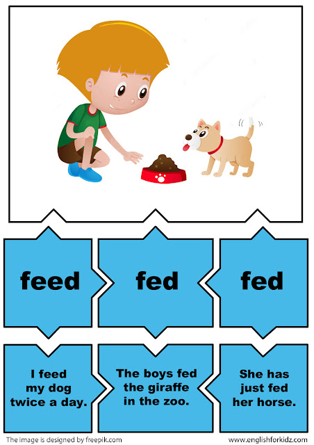 eglish for young learners irregular verbs activity verb feed
