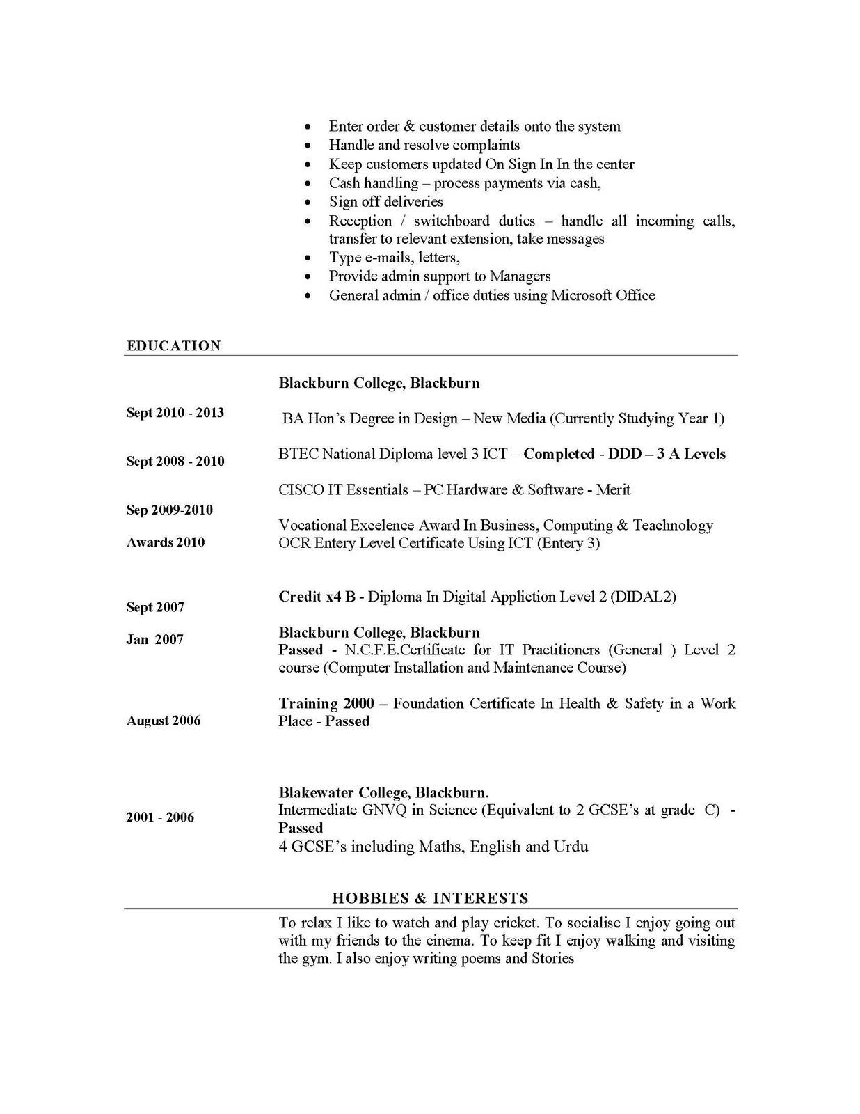 curriculum vitae ahpra