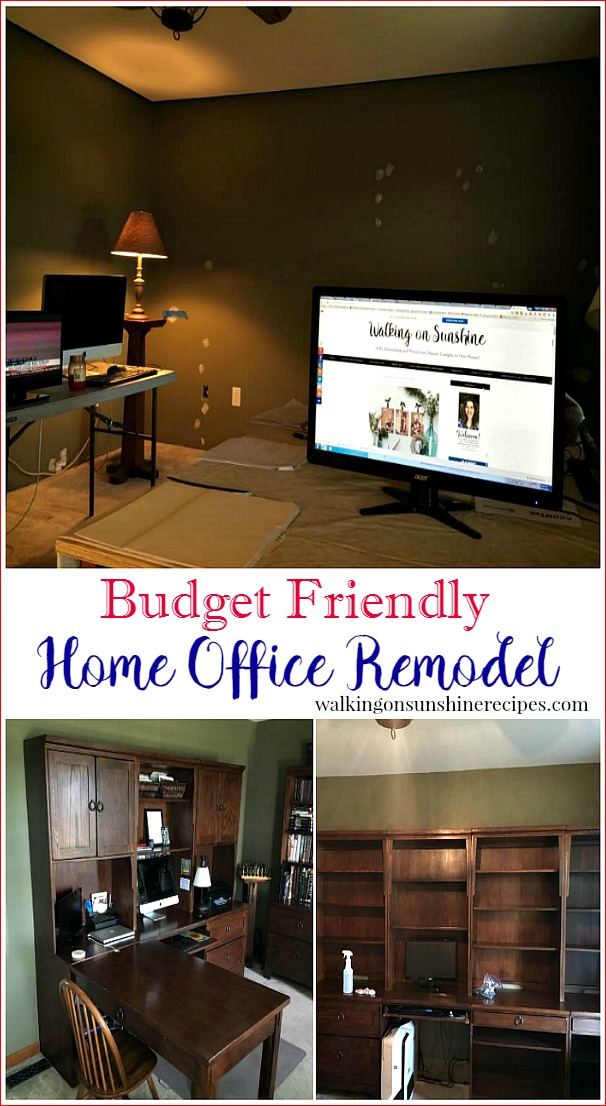 Before we start our budget friendly home office remodel project from Walking on Sunshine Recipes.