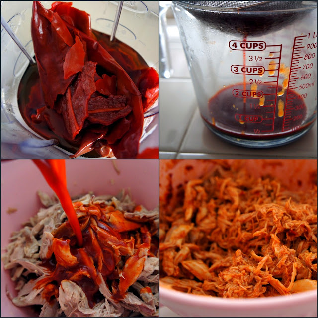 A demonstration of how to blend and add the red peppers to the tamale paste mixture