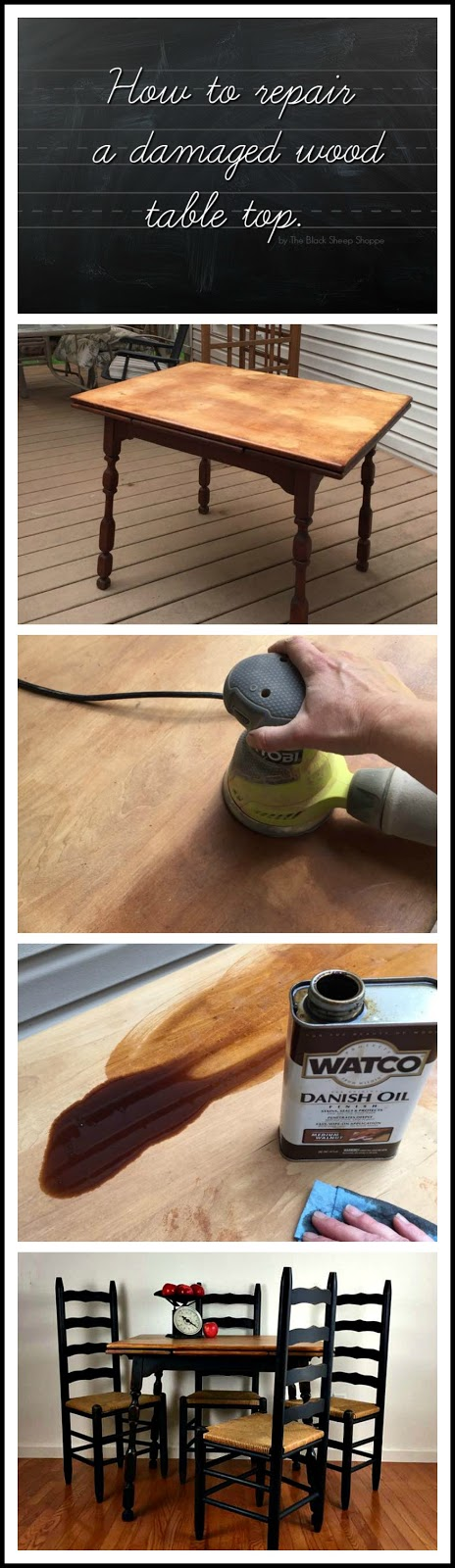 How to repair a damaged wood table top