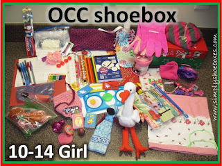 OCC shoebox for 10 to 14 year old girl with clothing.