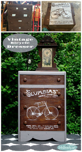 before and after vintage columbias highest grade bicycle advertisement dresser roadside rescue makeover recycled upcycled stencil before and after veneer