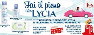 Logo Con Lycia vinci buoni spesa Bennet e un anno di carburante