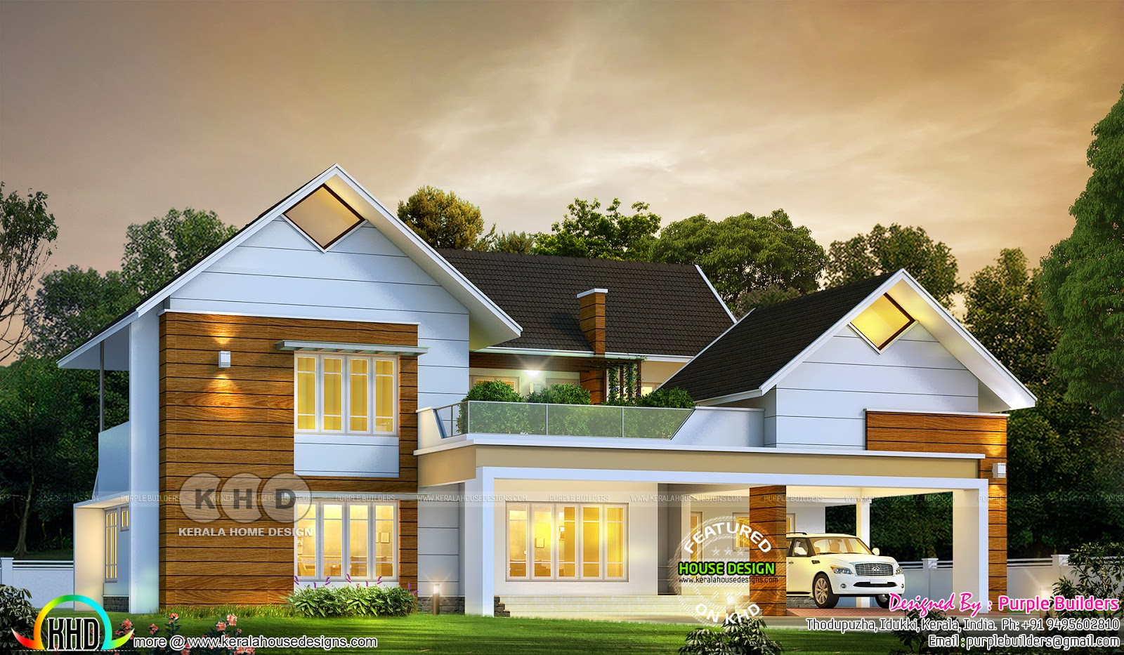 2995 Sq Ft Sloped Roof Home With 4 Bedrooms Kerala Home